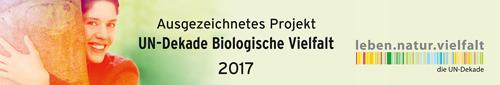 Logo UN-Dekade biologische Vielfalt 2017 für Projekt Blühpate werden des Netzwerks Blühende Landschaft.