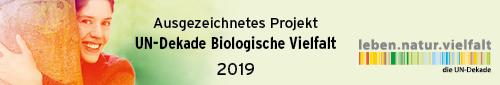 Logo UN-Dekade biologische Vielfalt 2019 für Projekt Blühpate werden des Netzwerks Blühende Landschaft.